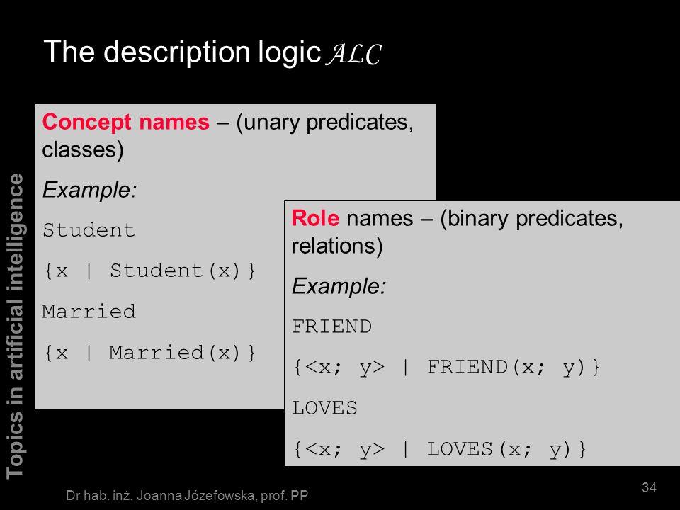 Topics in artificial intelligence 33 Dr hab. inż. Joanna Józefowska, prof. PP Description logics Core part of any DL: concept language Concept names a