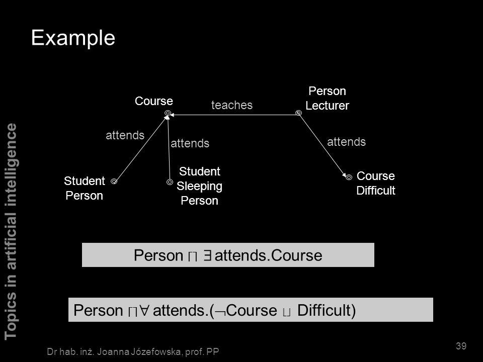 Topics in artificial intelligence 38 Dr hab. inż. Joanna Józefowska, prof. PP Semantics of complex concepts ( C) I = I \ C I (C D) I = C I D I ( R.C)