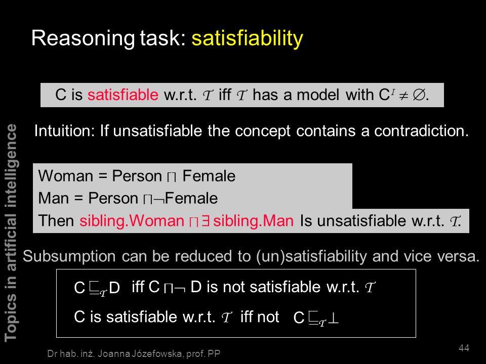 Topics in artificial intelligence 43 Dr hab. inż. Joanna Józefowska, prof. PP PhDStudent = teaches.Course Student Reasoning task: classification Arran