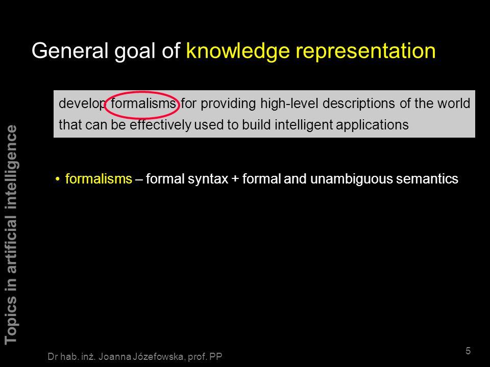 Topics in artificial intelligence 65 Dr hab.inż. Joanna Józefowska, prof.