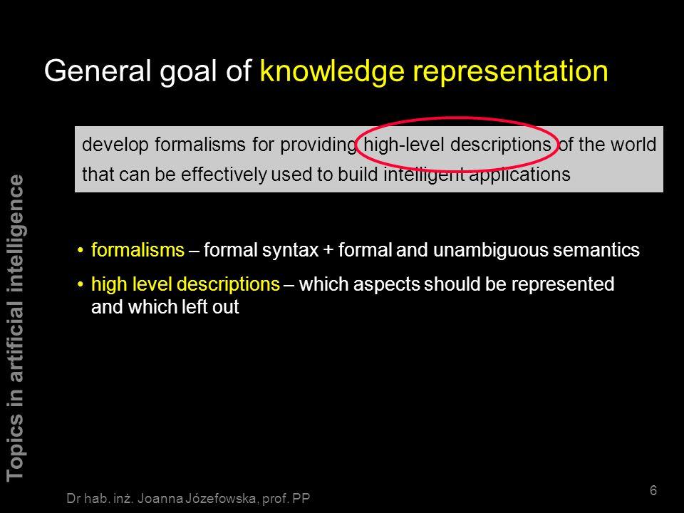 Topics in artificial intelligence 46 Dr hab.inż. Joanna Józefowska, prof.