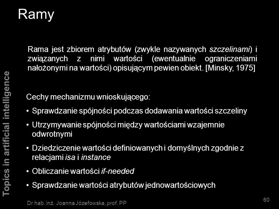 Topics in artificial intelligence 59 Dr hab. inż. Joanna Józefowska, prof. PP Sieci semantyczne pgl gryźćpieslistonosz isa ofiaranapastnik Każdy pies