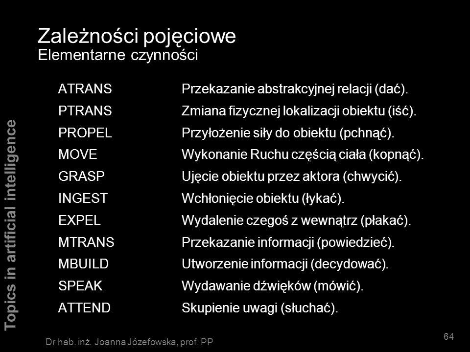 Topics in artificial intelligence 63 Dr hab. inż. Joanna Józefowska, prof. PP Zależności pojęciowe Elementarne kategorie ACTsCzynności PPsObiekty (pro