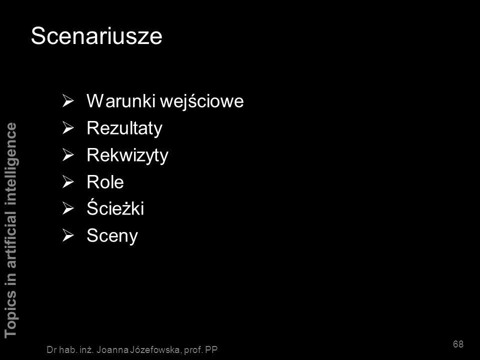 Topics in artificial intelligence 67 Dr hab. inż. Joanna Józefowska, prof. PP Zależności pojęciowe Przykład Jaś dał książkę Marysi. Jaś p ATRANS o ksi