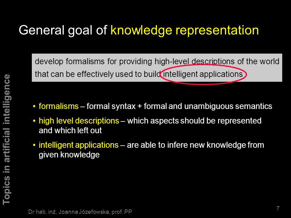 Topics in artificial intelligence 67 Dr hab.inż. Joanna Józefowska, prof.