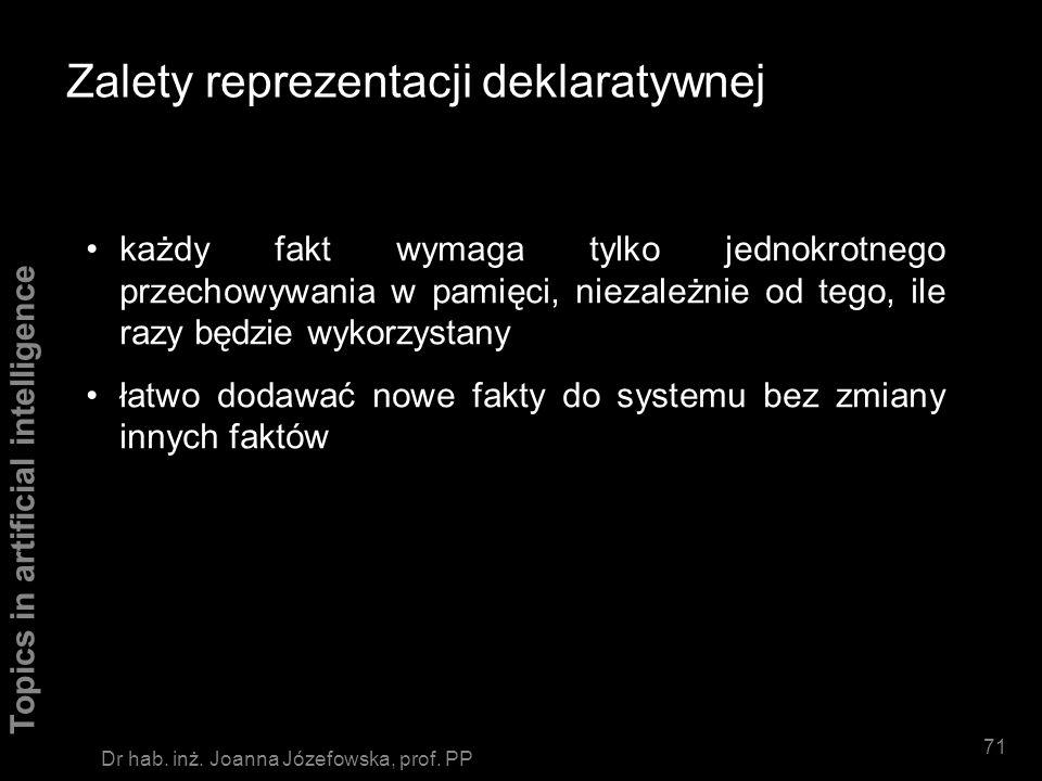 Topics in artificial intelligence 70 Dr hab. inż. Joanna Józefowska, prof. PP Podsumowanie Forma reprezentacji wiedzy jest odpowiednikiem struktur dan