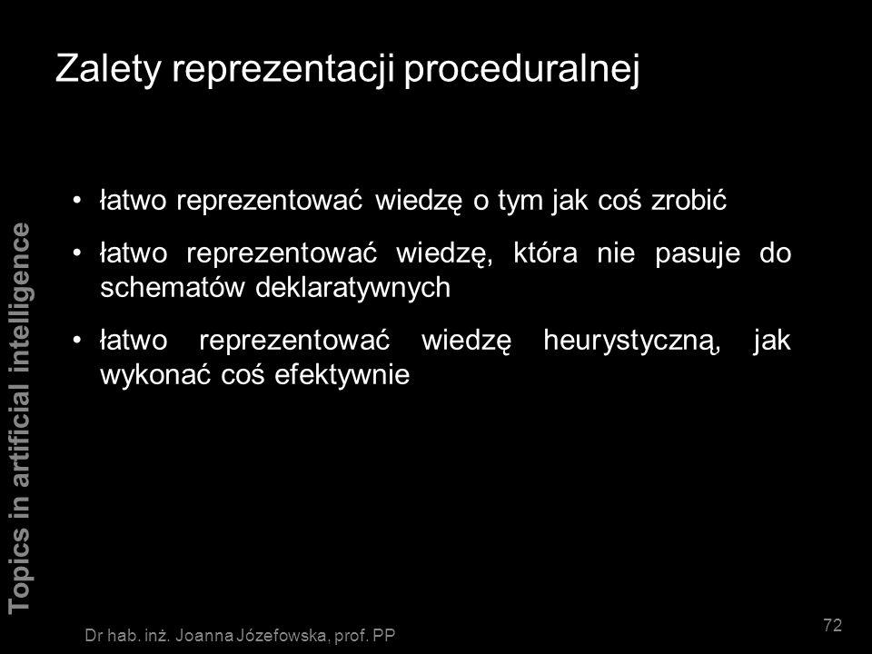 Topics in artificial intelligence 71 Dr hab. inż. Joanna Józefowska, prof. PP Zalety reprezentacji deklaratywnej każdy fakt wymaga tylko jednokrotnego