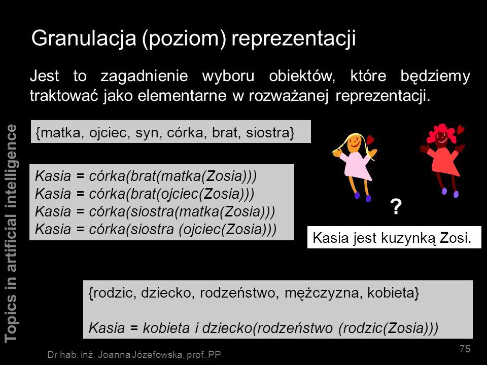 Topics in artificial intelligence 74 Dr hab. inż. Joanna Józefowska, prof. PP Reprezentacja zbiorów obiektów rozróżnienie wg nazwy definicja ekstencjo