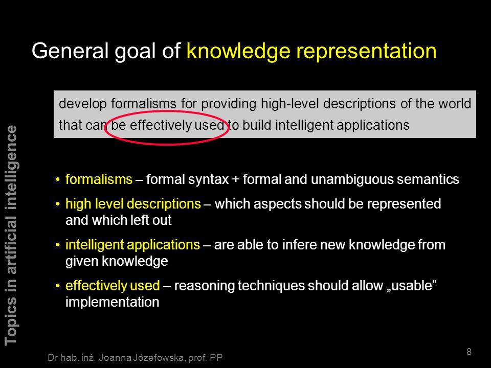 Topics in artificial intelligence 68 Dr hab.inż. Joanna Józefowska, prof.