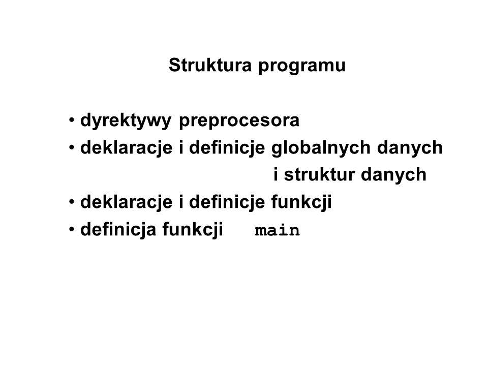 Struktura programu dyrektywy preprocesora deklaracje i definicje globalnych danych i struktur danych deklaracje i definicje funkcji definicja funkcji