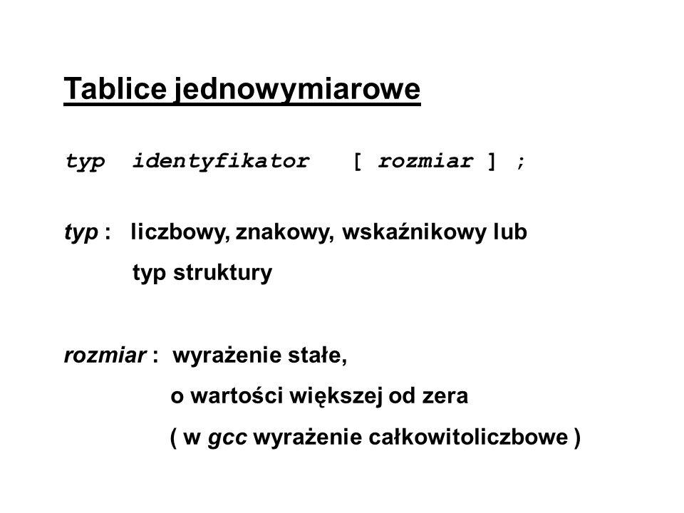 Tablice jednowymiarowe typ identyfikator [ rozmiar ] ; typ : liczbowy, znakowy, wskaźnikowy lub typ struktury rozmiar : wyrażenie stałe, o wartości wi