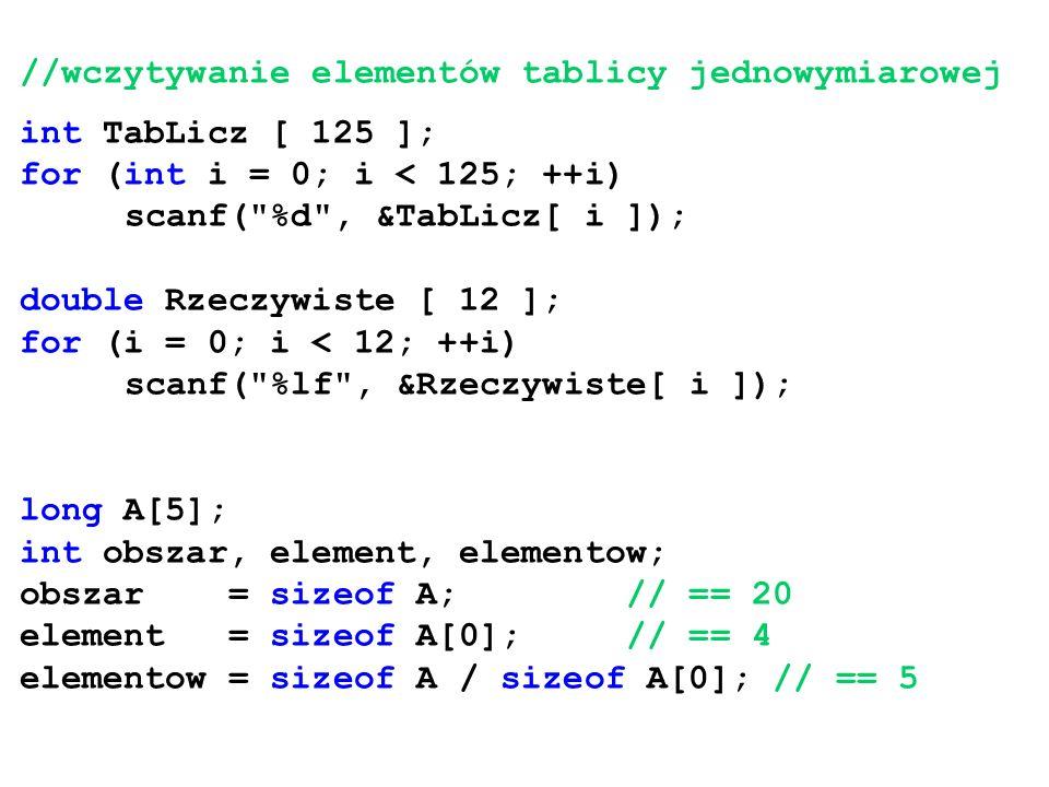 //wczytywanie elementów tablicy jednowymiarowej int TabLicz [ 125 ]; for (int i = 0; i < 125; ++i) scanf(