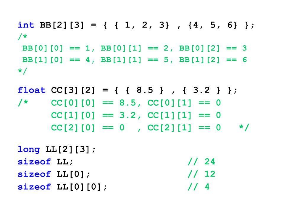 int BB[2][3] = { { 1, 2, 3}, {4, 5, 6} }; /* BB[0][0] == 1, BB[0][1] == 2, BB[0][2] == 3 BB[1][0] == 4, BB[1][1] == 5, BB[1][2] == 6 */ float CC[3][2]