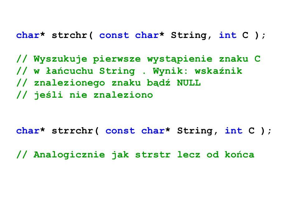 char* strchr( const char* String, int C ); // Wyszukuje pierwsze wystąpienie znaku C // w łańcuchu String. Wynik: wskaźnik // znalezionego znaku bądź