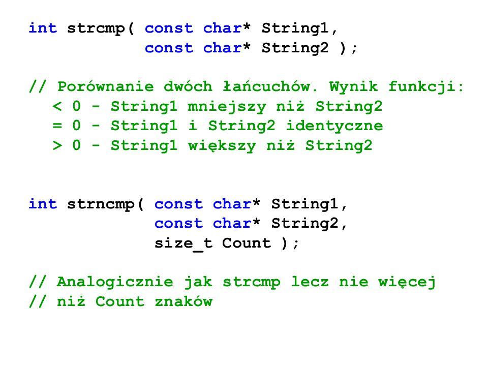 int strcmp( const char* String1, const char* String2 ); // Porównanie dwóch łańcuchów. Wynik funkcji: < 0 - String1 mniejszy niż String2 = 0 - String1