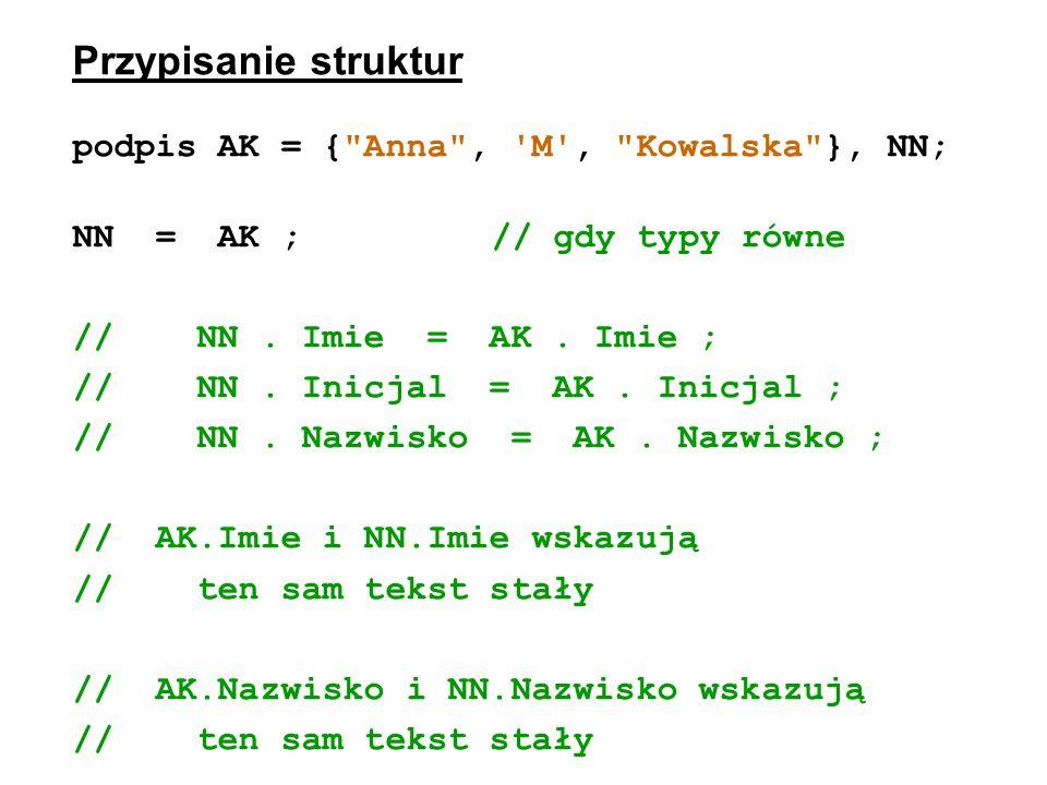 Przypisanie struktur podpis AK = {