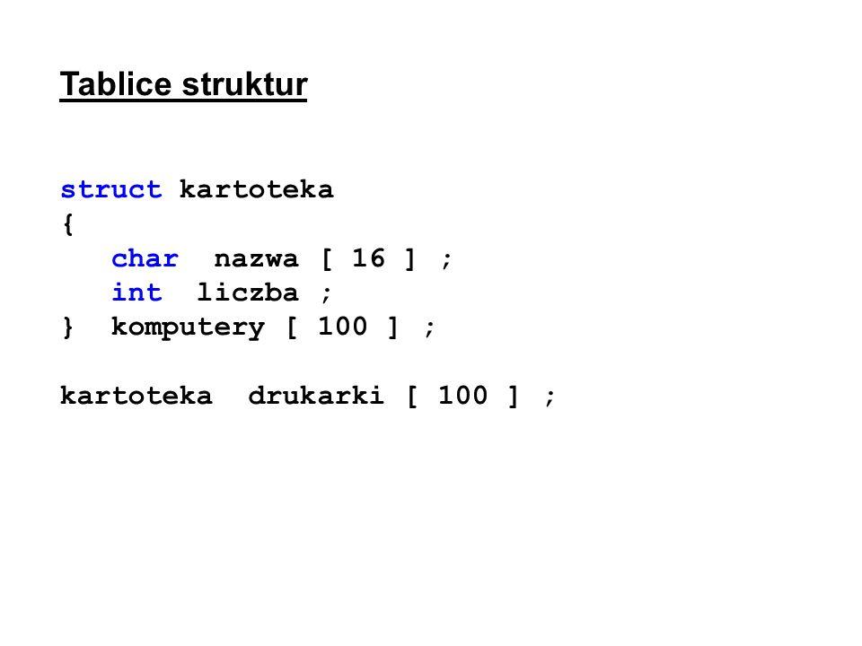 Tablice struktur struct kartoteka { char nazwa [ 16 ] ; int liczba ; } komputery [ 100 ] ; kartoteka drukarki [ 100 ] ;