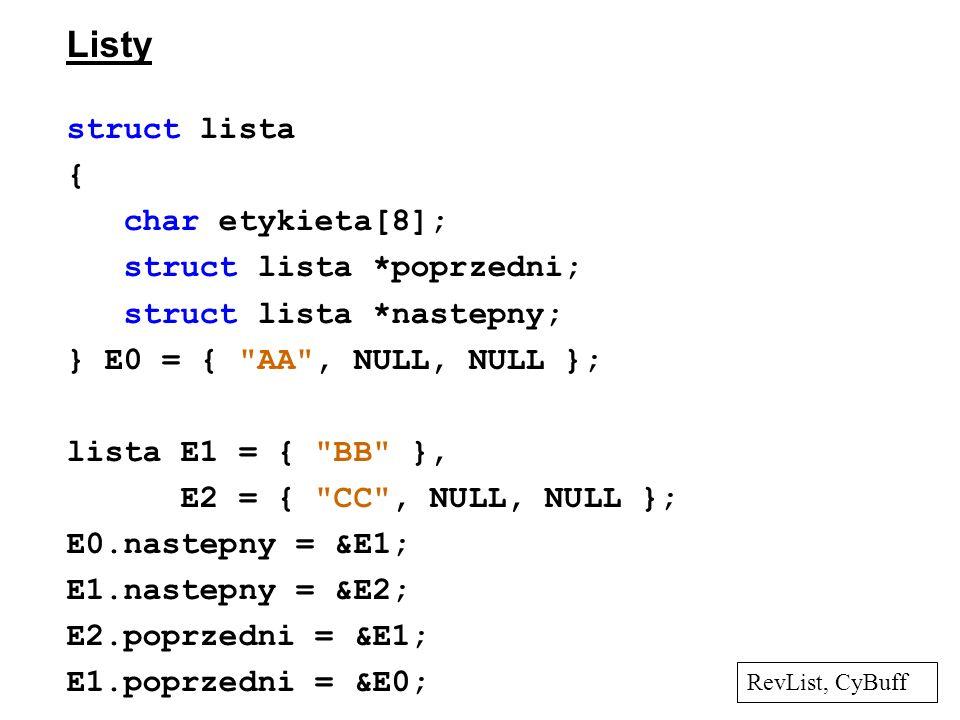 Listy struct lista { char etykieta[8]; struct lista *poprzedni; struct lista *nastepny; } E0 = {