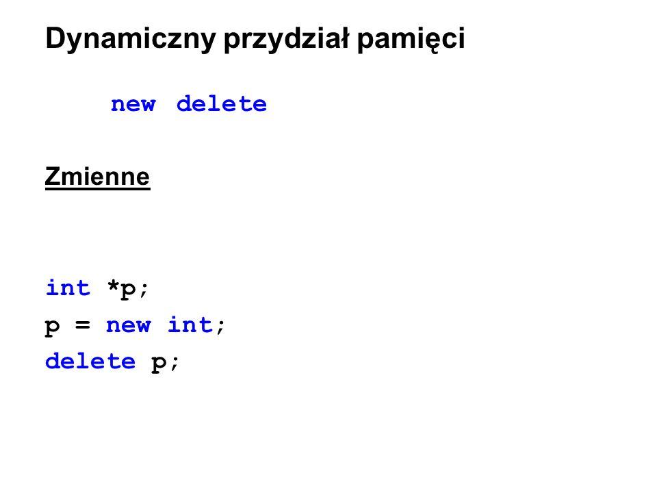 Dynamiczny przydział pamięci newdelete Zmienne int *p; p = new int; delete p;