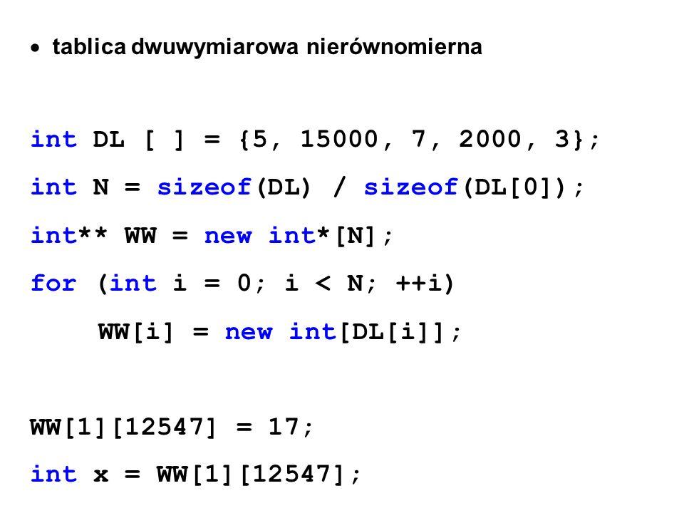 tablica dwuwymiarowa nierównomierna int DL [ ] = {5, 15000, 7, 2000, 3}; int N = sizeof(DL) / sizeof(DL[0]); int** WW = new int*[N]; for (int i = 0; i