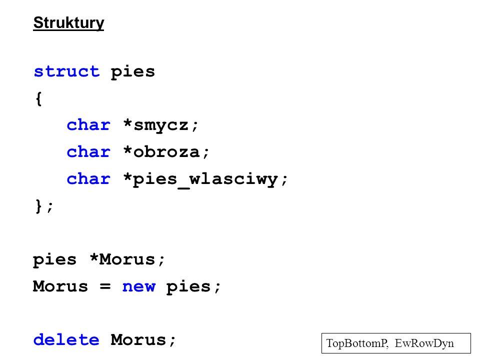 Struktury struct pies { char *smycz; char *obroza; char *pies_wlasciwy; }; pies *Morus; Morus = new pies; delete Morus; TopBottomP, EwRowDyn