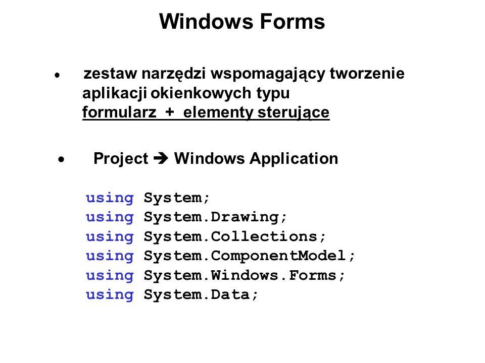 Windows Forms zestaw narzędzi wspomagający tworzenie aplikacji okienkowych typu formularz + elementy sterujące Project Windows Application using Syste
