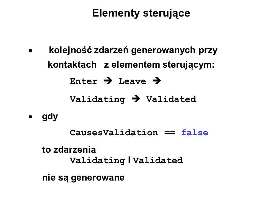 Elementy sterujące kolejność zdarzeń generowanych przy kontaktach z elementem sterującym: Enter Leave Validating Validated gdy CausesValidation == fal