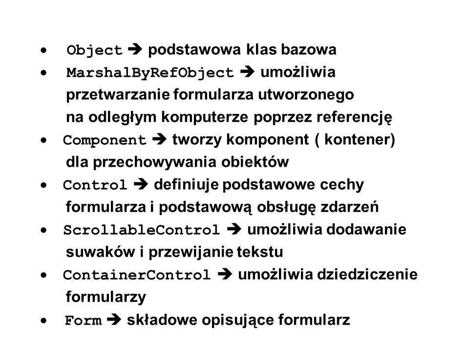 Okna dialogowe dialogi standardowe osadzanie z panelu elementów poza formularzem wyświetlanie i odczytywanie wyniku string str ; if (colorDialog1.ShowDialog() == DialogResult.OK) { str = colorDialog1.Color.ToString(); MessageBox.Show(str); } // Color [A=255,R=139,G=201,B=98] // // filtr dla openFileDialog openFileDialog1.Filter = Program files|*.cs ; Dial