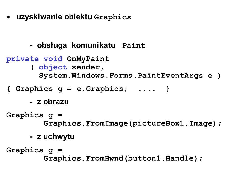 uzyskiwanie obiektu Graphics - obsługa komunikatu Paint private void OnMyPaint ( object sender, System.Windows.Forms.PaintEventArgs e ) { Graphics g =