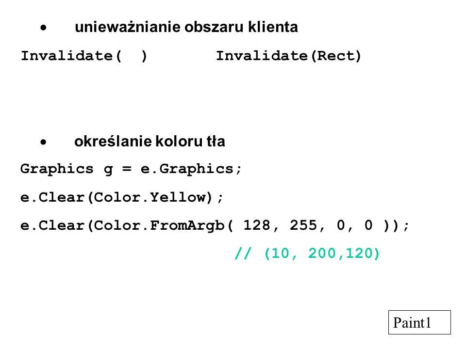 unieważnianie obszaru klienta Invalidate( ) Invalidate(Rect) określanie koloru tła Graphics g = e.Graphics; e.Clear(Color.Yellow); e.Clear(Color.FromA