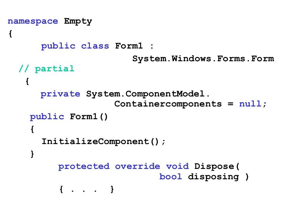Dialogi niestandardowe utworzyć nowy formularz Dialog (Aplikacja/Add/Add Windows Form) usunąć elementy ControlBox, MaximizeBox, MinimizeBox (false) dodać przyciski OK i Cancel i ustalić DialogResult