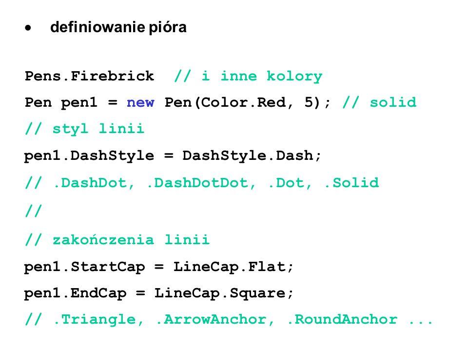 definiowanie pióra Pens.Firebrick // i inne kolory Pen pen1 = new Pen(Color.Red, 5); // solid // styl linii pen1.DashStyle = DashStyle.Dash; //.DashDo