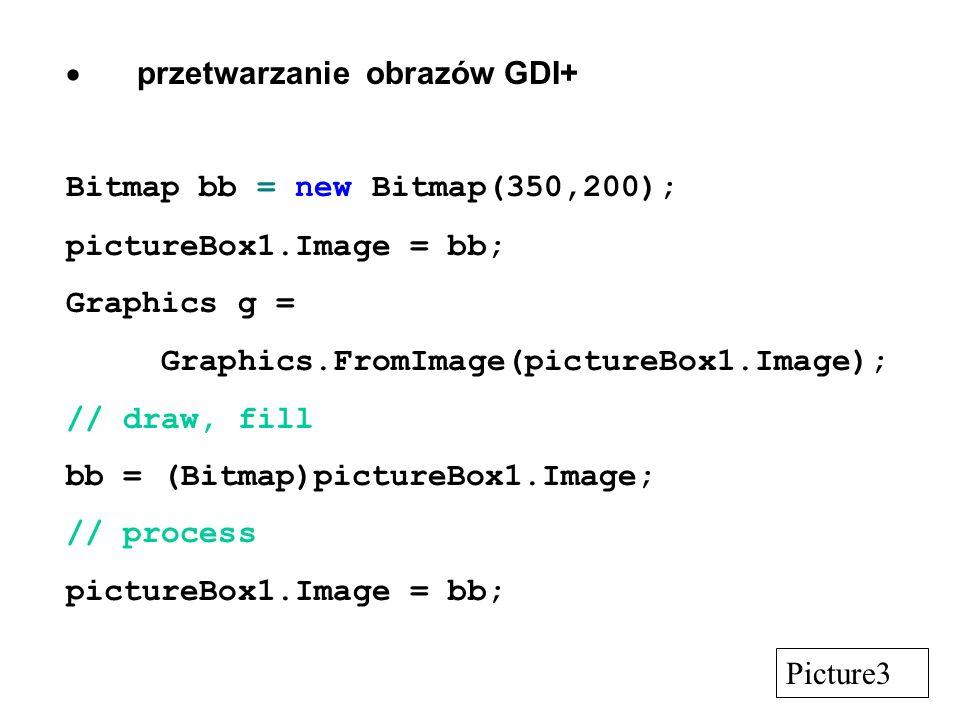 przetwarzanie obrazów GDI+ Bitmap bb = new Bitmap(350,200); pictureBox1.Image = bb; Graphics g = Graphics.FromImage(pictureBox1.Image); // draw, fill