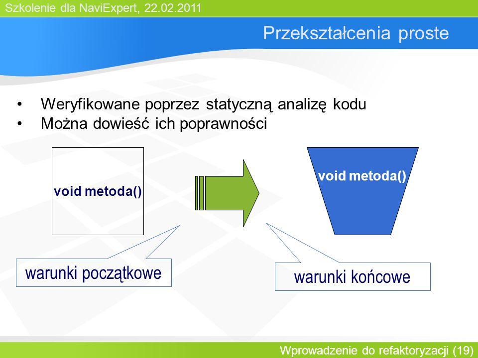 Szkolenie dla NaviExpert, 22.02.2011 Wprowadzenie do refaktoryzacji (19) Przekształcenia proste void metoda() warunki początkowe Weryfikowane poprzez statyczną analizę kodu Można dowieść ich poprawności warunki końcowe
