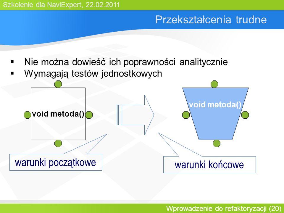 Szkolenie dla NaviExpert, 22.02.2011 Wprowadzenie do refaktoryzacji (20) Przekształcenia trudne Nie można dowieść ich poprawności analitycznie Wymagają testów jednostkowych void metoda() warunki początkowe warunki końcowe