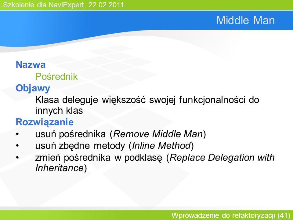 Szkolenie dla NaviExpert, 22.02.2011 Wprowadzenie do refaktoryzacji (41) Middle Man Nazwa Pośrednik Objawy Klasa deleguje większość swojej funkcjonalności do innych klas Rozwiązanie usuń pośrednika (Remove Middle Man) usuń zbędne metody (Inline Method) zmień pośrednika w podklasę (Replace Delegation with Inheritance)