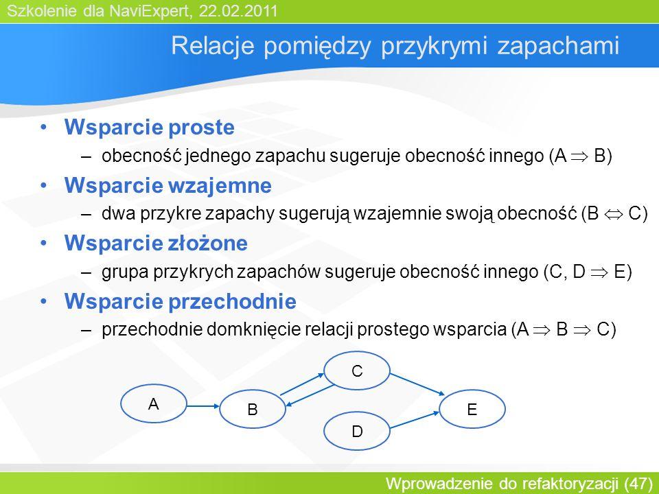 Szkolenie dla NaviExpert, 22.02.2011 Wprowadzenie do refaktoryzacji (47) Relacje pomiędzy przykrymi zapachami Wsparcie proste –obecność jednego zapachu sugeruje obecność innego (A B) Wsparcie wzajemne –dwa przykre zapachy sugerują wzajemnie swoją obecność (B C) Wsparcie złożone –grupa przykrych zapachów sugeruje obecność innego (C, D E) Wsparcie przechodnie –przechodnie domknięcie relacji prostego wsparcia (A B C) A B C D E