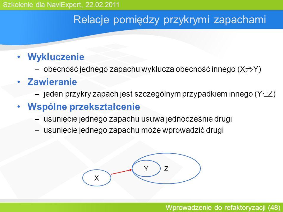 Szkolenie dla NaviExpert, 22.02.2011 Wprowadzenie do refaktoryzacji (48) Relacje pomiędzy przykrymi zapachami Wykluczenie –obecność jednego zapachu wyklucza obecność innego (X Y) Zawieranie –jeden przykry zapach jest szczególnym przypadkiem innego (Y Z) Wspólne przekształcenie –usunięcie jednego zapachu usuwa jednocześnie drugi –usunięcie jednego zapachu może wprowadzić drugi X Y Z