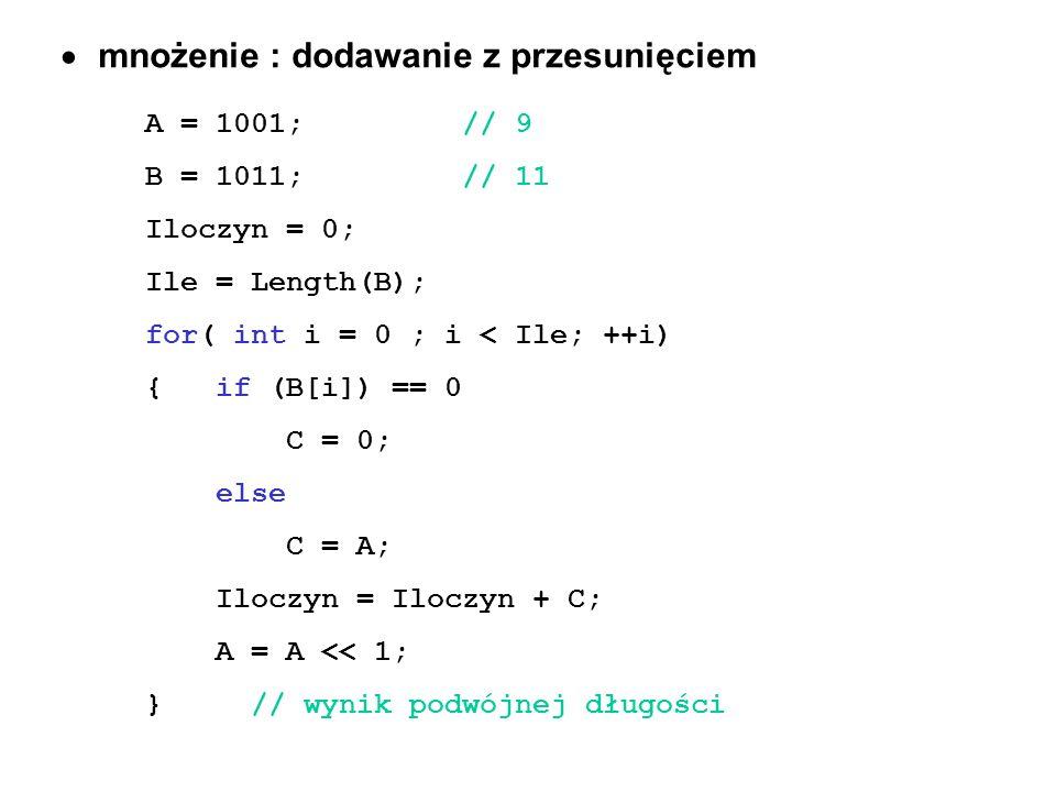 mnożenie : dodawanie z przesunięciem A = 1001;// 9 B = 1011; // 11 Iloczyn = 0; Ile = Length(B); for( int i = 0 ; i < Ile; ++i) { if (B[i]) == 0 C = 0