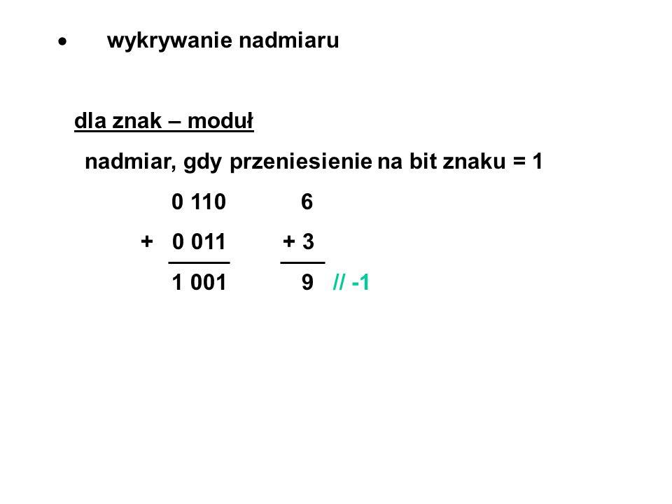 wykrywanie nadmiaru dla znak – moduł nadmiar, gdy przeniesienie na bit znaku = 1 0 110 6 + 0 011 + 3 1 001 9 // -1