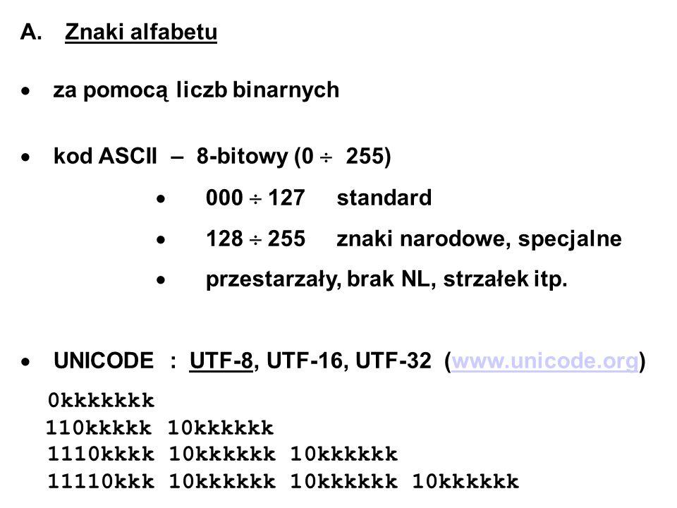 A. Znaki alfabetu za pomocą liczb binarnych kod ASCII – 8-bitowy (0 255) 000 127 standard 128 255 znaki narodowe, specjalne przestarzały, brak NL, str