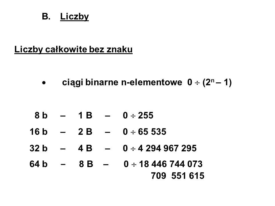 B. Liczby Liczby całkowite bez znaku ciągi binarne n-elementowe 0 (2 n – 1) 8 b – 1 B – 0 255 16 b – 2 B – 0 65 535 32 b – 4 B – 0 4 294 967 295 64 b