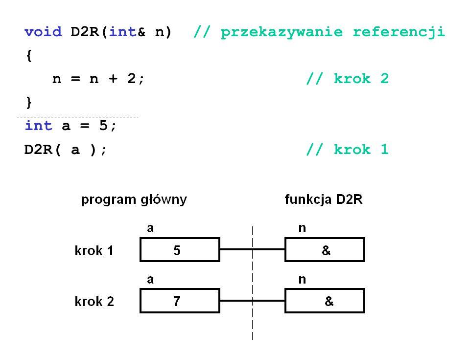 void D2R(int& n) // przekazywanie referencji { n = n + 2; // krok 2 } int a = 5; D2R( a ); // krok 1