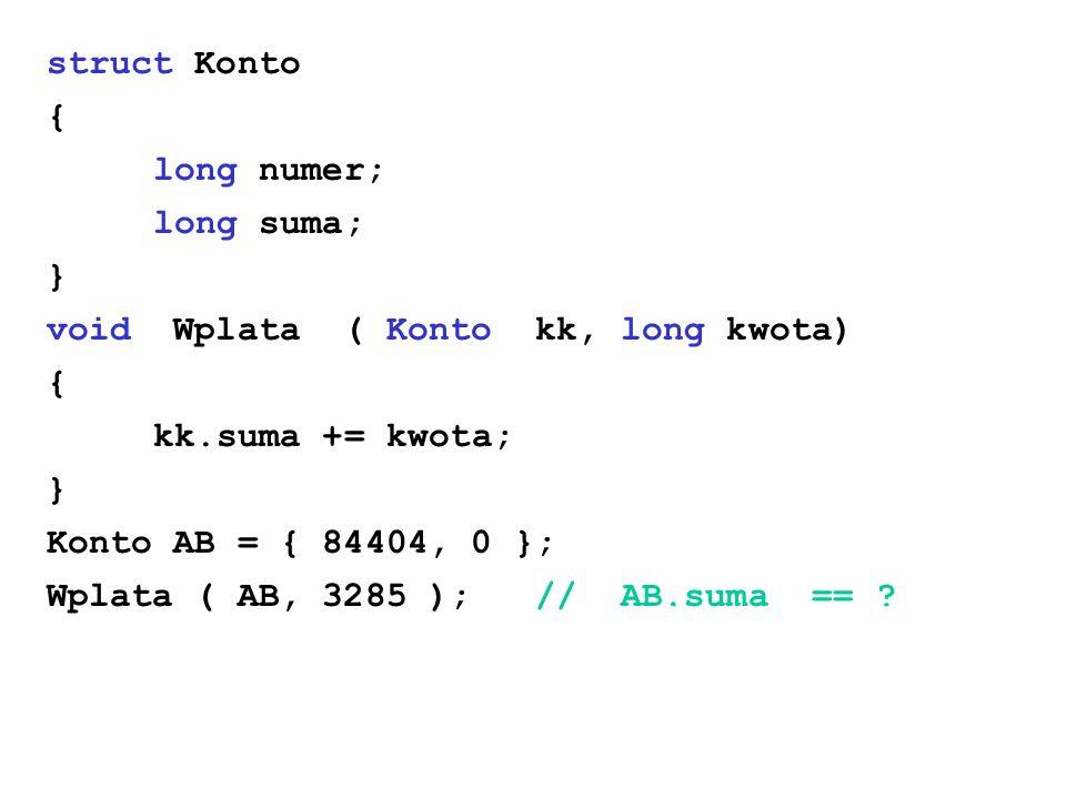 struct Konto { long numer; long suma; } void Wplata ( Konto kk, long kwota) { kk.suma += kwota; } Konto AB = { 84404, 0 }; Wplata ( AB, 3285 ); // AB.