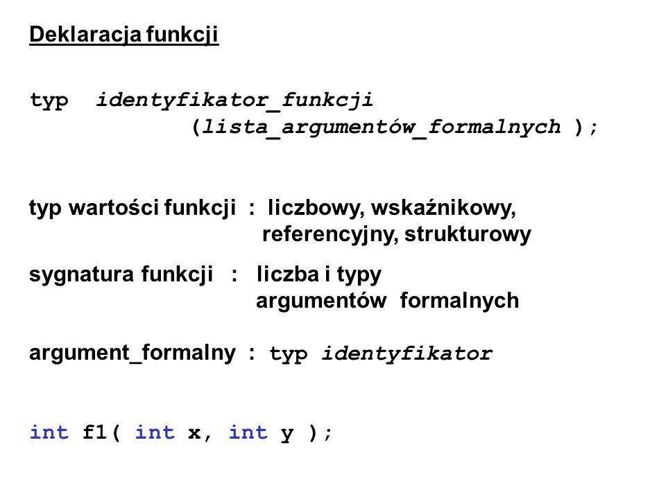 Deklaracja funkcji typ identyfikator_funkcji (lista_argumentów_formalnych ); typ wartości funkcji : liczbowy, wskaźnikowy, referencyjny, strukturowy s