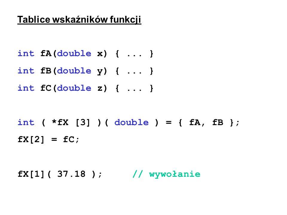Tablice wskaźników funkcji int fA(double x) {... } int fB(double y) {... } int fC(double z) {... } int ( *fX [3] )( double ) = { fA, fB }; fX[2] = fC;