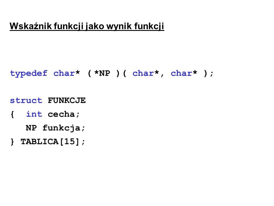 Wskaźnik funkcji jako wynik funkcji typedef char* ( *NP )( char*, char* ); struct FUNKCJE { int cecha; NP funkcja; } TABLICA[15];