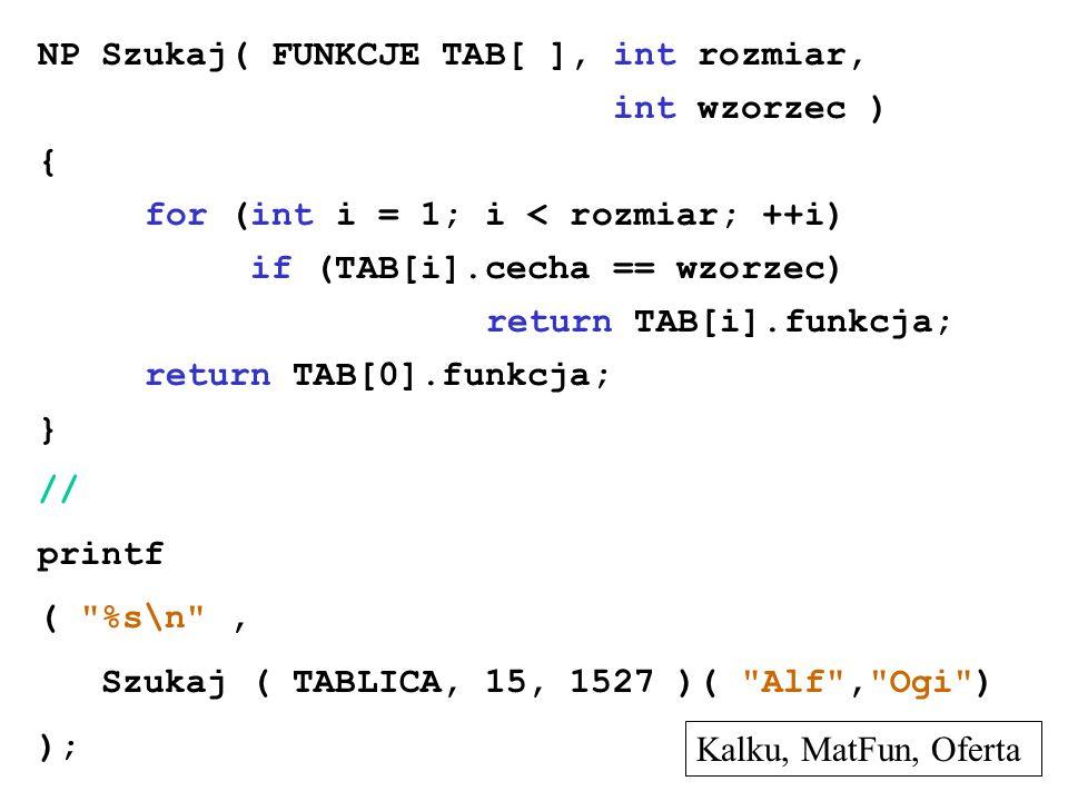 NP Szukaj( FUNKCJE TAB[ ], int rozmiar, int wzorzec ) { for (int i = 1; i < rozmiar; ++i) if (TAB[i].cecha == wzorzec) return TAB[i].funkcja; return T