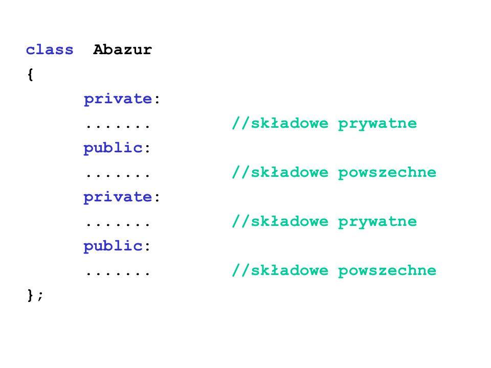 class Abazur { private:....... //składowe prywatne public:....... //składowe powszechne private:....... //składowe prywatne public:....... //składowe