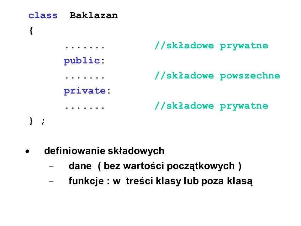 class Baklazan {....... //składowe prywatne public:....... //składowe powszechne private:....... //składowe prywatne } ; definiowanie składowych – dan